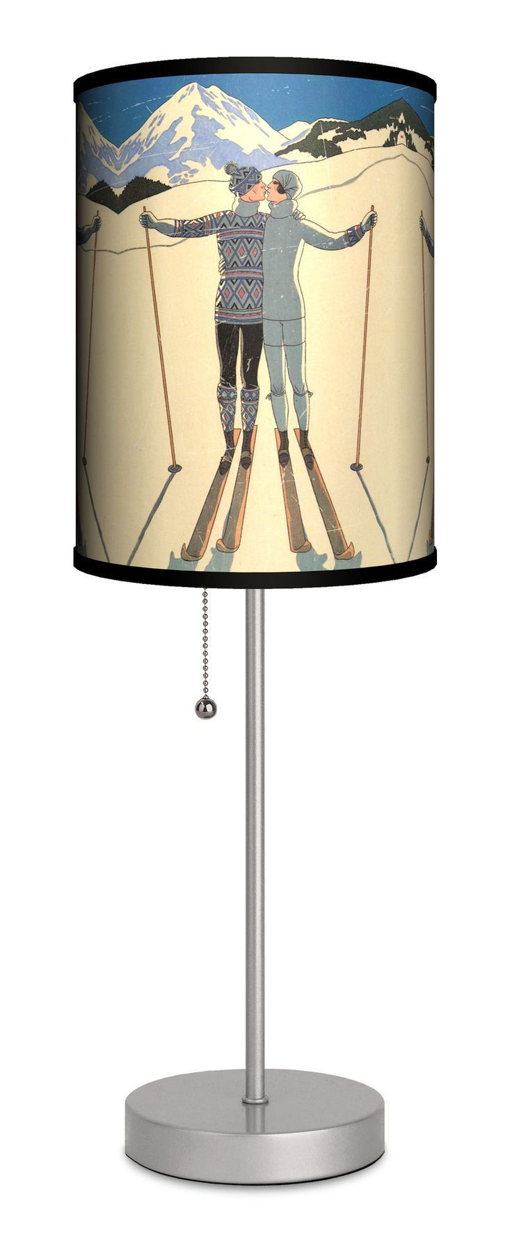 "Decor Art Ski Kiss 20"" H Table Lamp with Drum Shade 