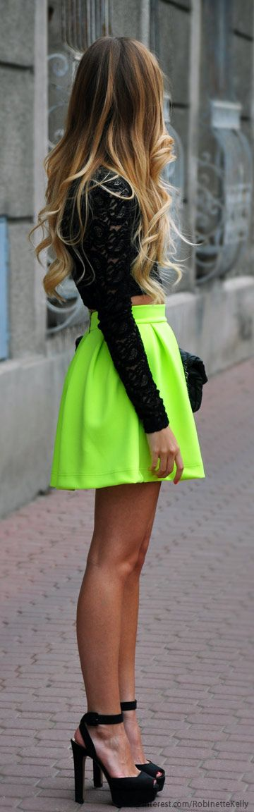 Neon x lace top Street Style