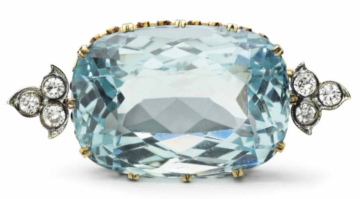 <p>Gold, silver, aquamarine, and diamond brooch </p> <p>Price estimate: $35,000 - $45,000</p>