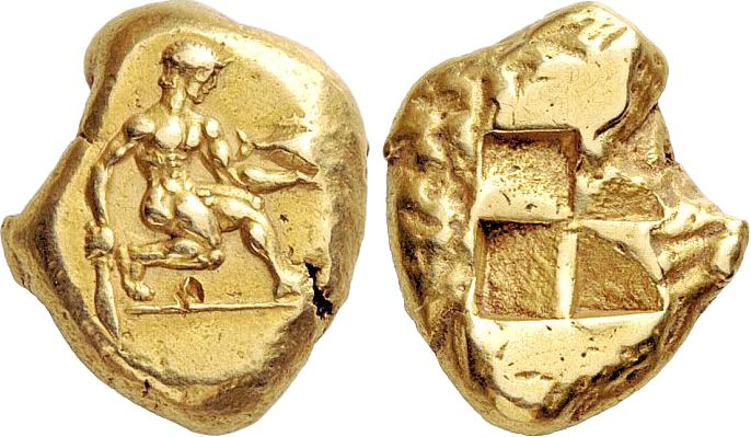 Stater of Cyzicus. EL, 16.05 g, Mysia, c.460 BC. Naked young man kneeling right, holding tuna in his outstretched left hand and butcher knife in his lowered right hand. / Four-part square incuse. From Fritze 113; SNG Paris 254. Ex Triton III (November 30, 1999), 494; LANZ 153, 238. Rare. About EF. $9.195.