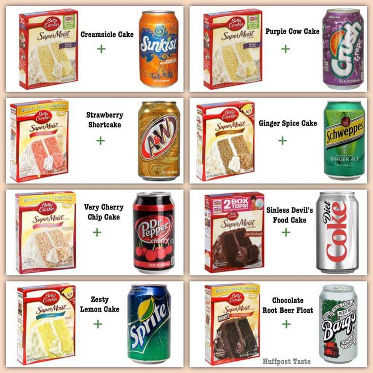 Cakes from a box with a can of soda. Bake as directed on box. No other ingredients necessary.
