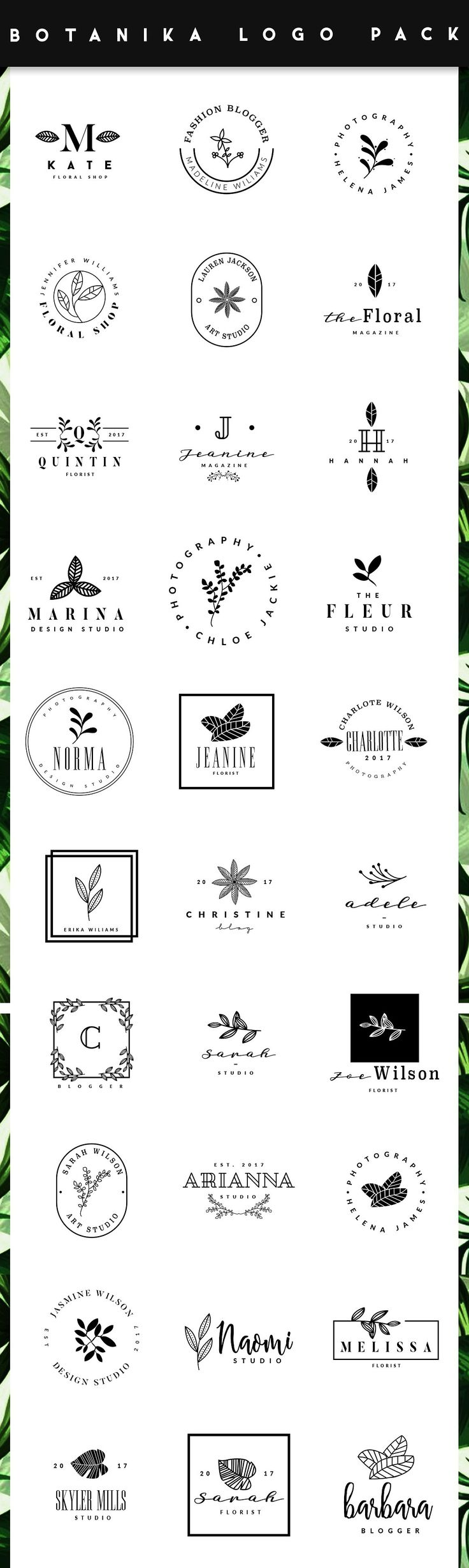 BOTANIKA Logo Pack - This Pack Includes 30 Ready Made Vector Logos that you can modify as you want to create some stunning floral designs. By Graphic Dash $9 #affiliatelink