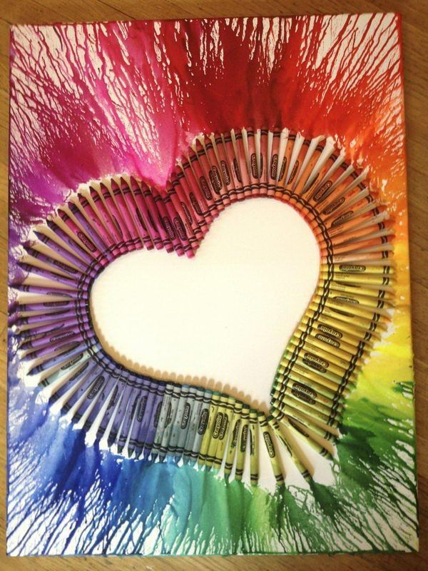 use blow dryer to get this effect, http://hative.com/cool-melted-crayon-art-ideas/,