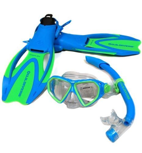 Snorkels and Sets 71162: Us Divers Diva Trek Mask Fin Snorkel Set With Bag Blue Green Small Kids Sz 9- 13 -> BUY IT NOW ONLY: $31.99 on eBay!