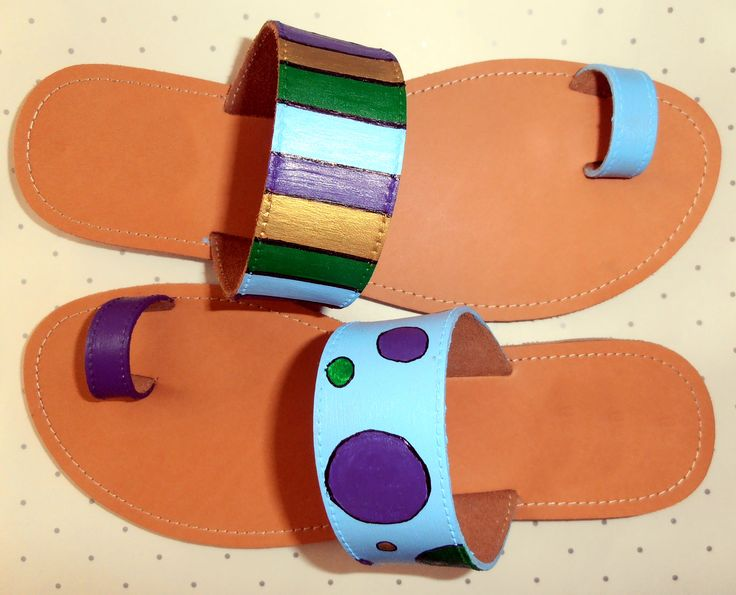 Hand painted leather sandals!
