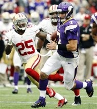 Minnesota Vikings (and former FSU) quarterback Christian Ponder (7) runs from San Francisco 49ers cornerback Tarell Brown (25) during a touchdown run in the first half of an NFL football game, Sunday, Sept. 23, 2012, in Minneapolis. (AP Photo/Genevieve Ross)