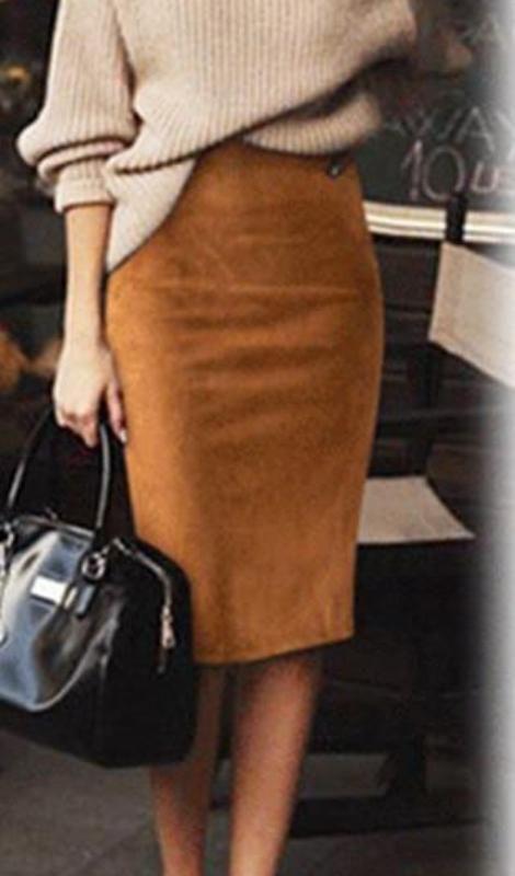 Carmen Faux Suede Midi Pencil Skirt – Camel, Beige or Black