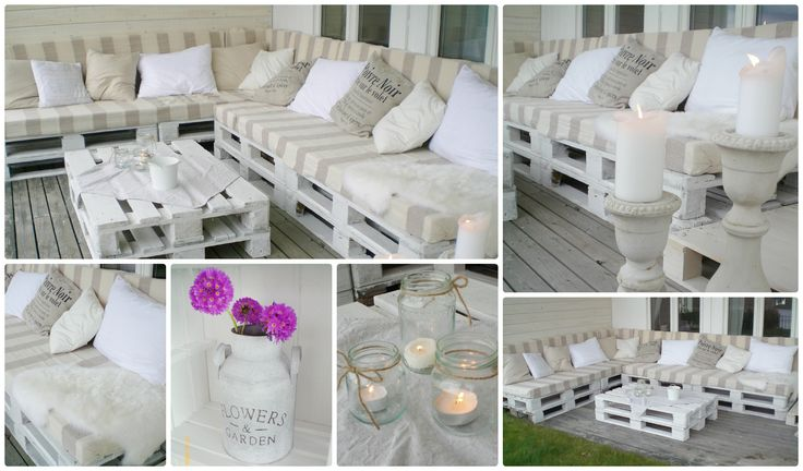 Pallet couch # Purple flowers # Candles # Pillows # Table # Outdoor living # Garden # Sofa # Porch # Cosy