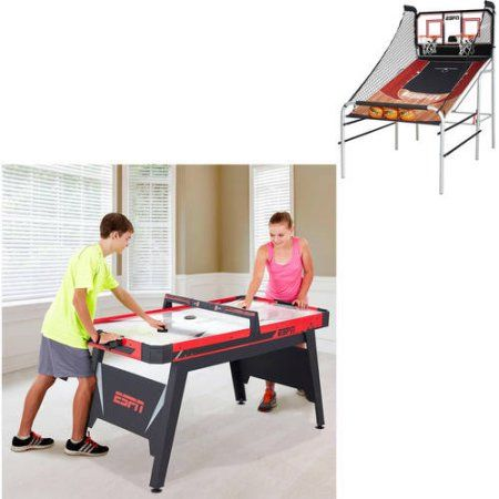 Value Bundle Espn 2 Player Basketball Game and Espn 60; Air-Powered Hockey Table