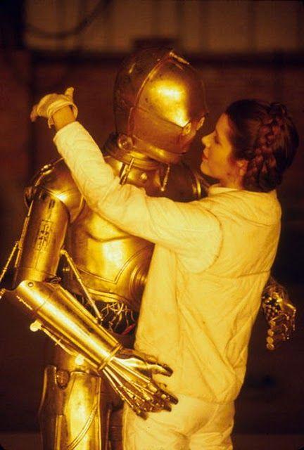 Star Wars Trilogy - Rare Photo //c3po and princess Leia