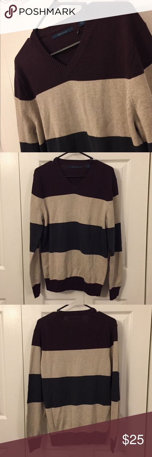 Perry Ellis Men's Crewneck Sweater Brand new with tags. V-neck striped sweater with beige, deep purple and charcoal colors.  ***Open to reasonable offers! Bundle and save on shipping! Perry Ellis Sweaters V-Neck