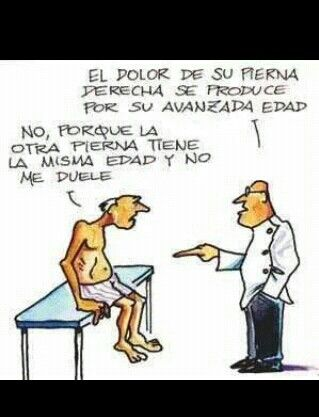 The pain in your right leg is due to your advanced age.  No, because the other leg is the same age and it doesn't hurt me. #Spanish