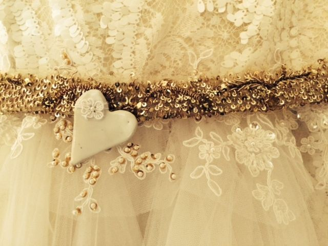 Festive prettiness this December! Gorgeous beads and lace detail for a flower girl dress. #JossBridalWear