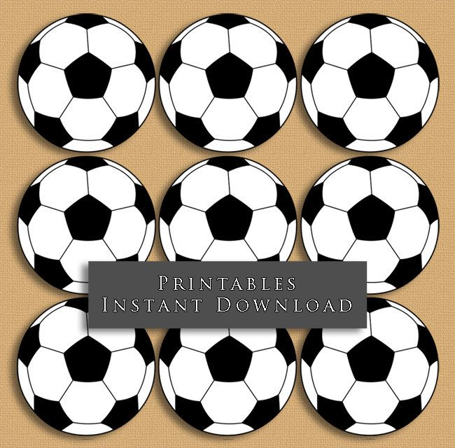 """2.5"""" Soccer Ball Printable Cupcake Toppers Sports Theme Birthday Party DIY Printable INSTANT DOWNLOAD by JannaSalakDesigns on Etsy"""