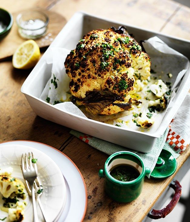 Whole roast cauliflower with parsley and anchovy sauce recipe | Alice Waters recipe :: Gourmet Traveller
