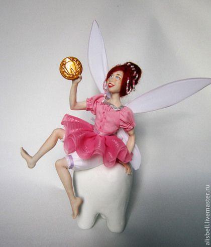 Зубная фея - коралловый,розовый,белый,цветной,фея,зуб,зубная фея,подарок стоматологу