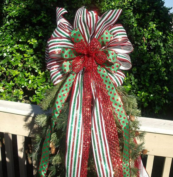 Christmas Red, Green And White Bow Tree Topper