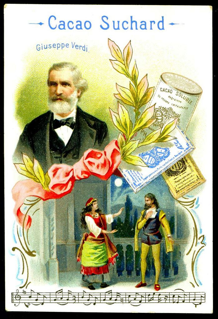 """French Tradecard -  Giuseppe Verdi. Suchard Chocolate & Cocoa """"Composers"""" c1898."""