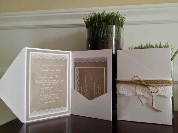 Burlap and lace invitation set. $7.00, via Etsy.