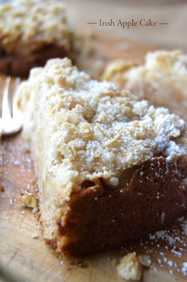 Irish Apple Cake is a mildly spiced cake, filled with tart thinly sliced apples, and topped with a crumbly oat streusel.