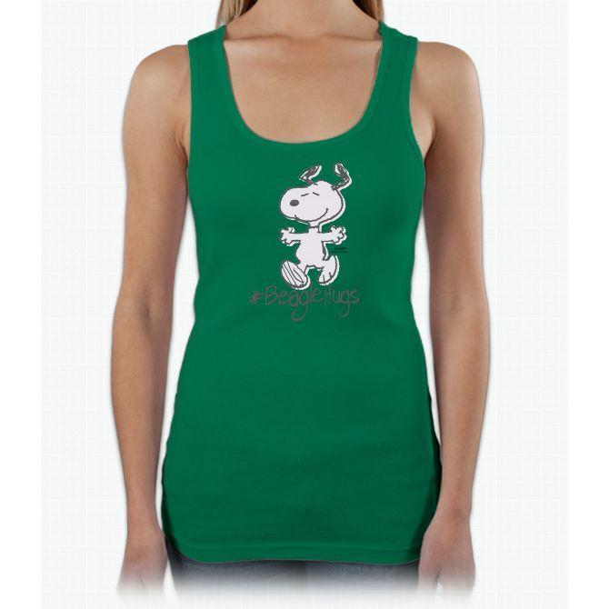 Snoopy Beagle Hugs Ladies Triblend Racerback Tank