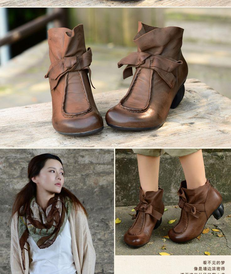 Xiangban мягкие кожаные женские сапоги элегантные ретро боути комплект ручной работы кожаные сапоги женские удобные толстый каблук обувь купить на AliExpress