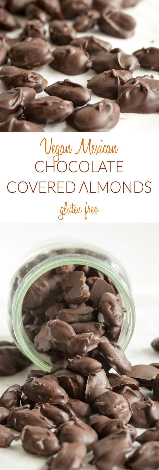 Vegan Mexican Chocolate Covered Almonds (gluten free) - These easy chocolate treats make a great gift for the holidays! They can also be made into clusters!