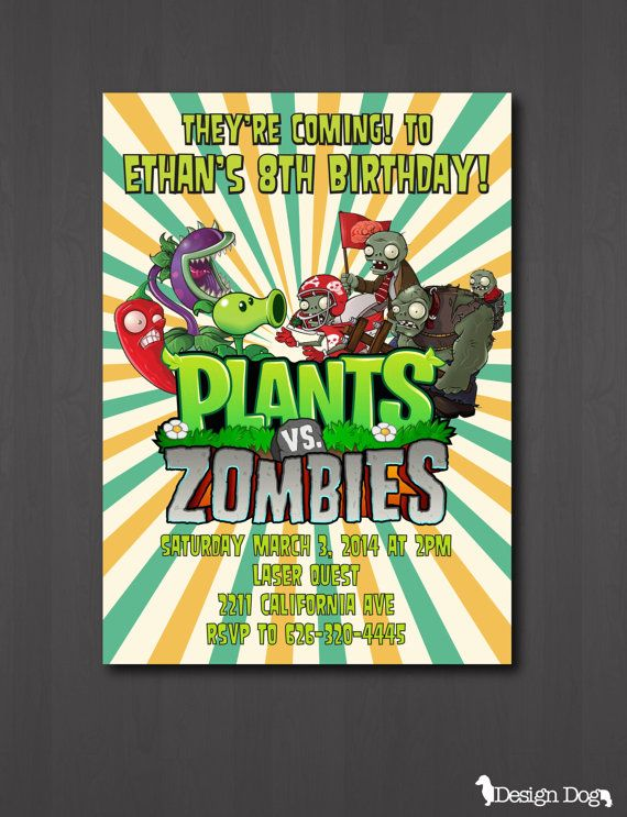 Plants vs. Zombies Birthday Invitation by TheDesignDog on ...