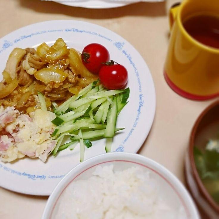 今日の夜ご飯☆豚こま肉の生姜焼き