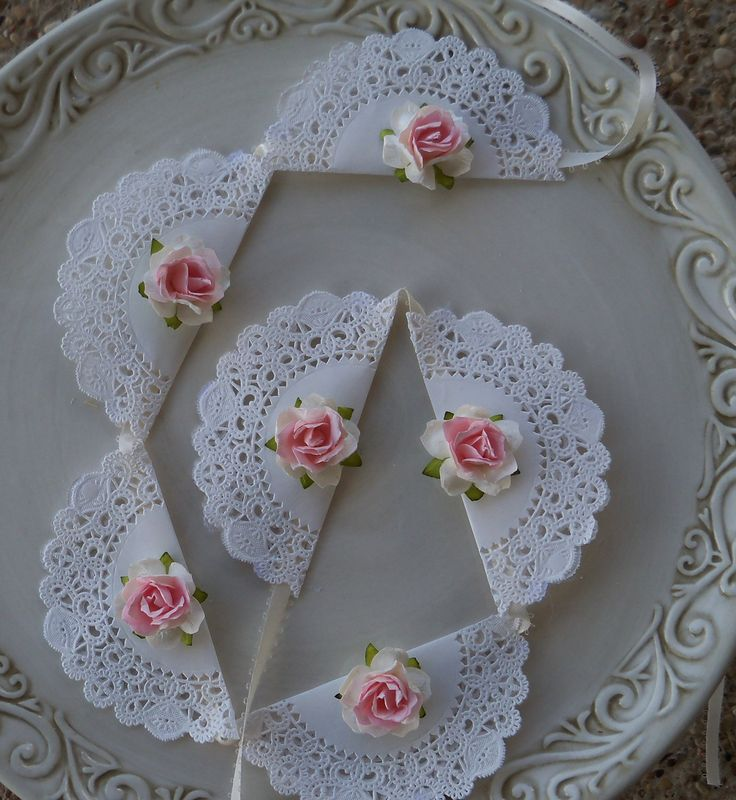 shabby chic banner...love the doiles, would change the flower to fit the wedding - @ Michelle Z - thought you might like this for the shower you're planning. Would be simple & pretty.