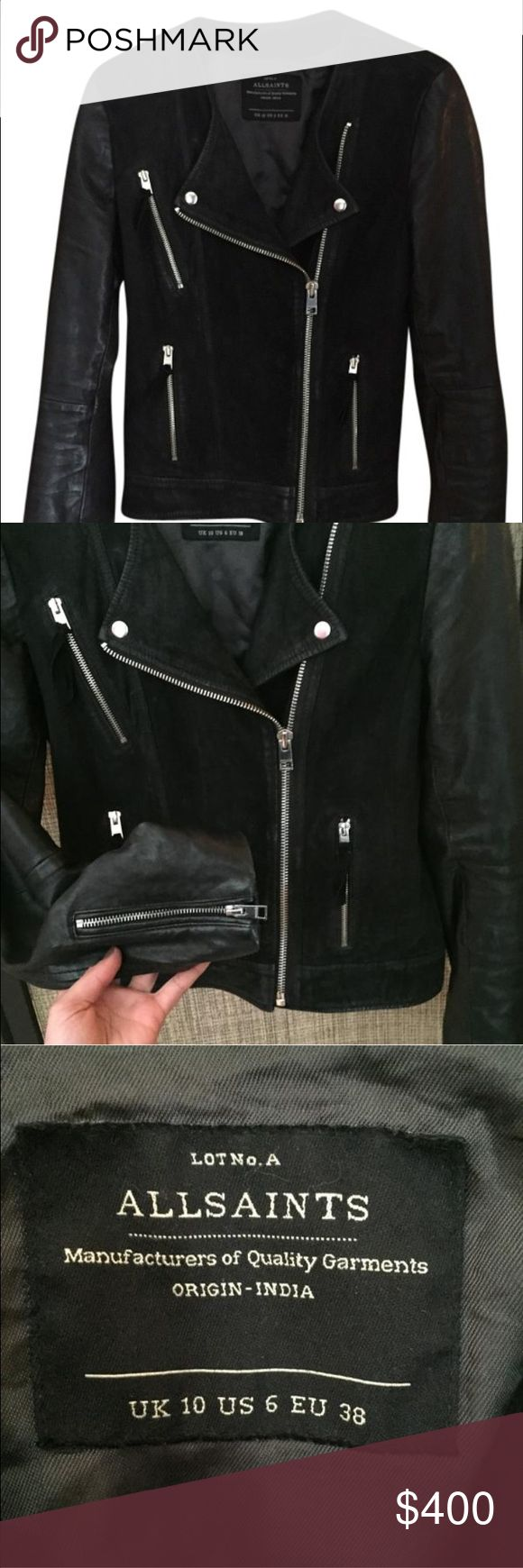 AllSaints Connell Leather jacket size 6 (s) Gently used leather and suede Connell leather allsaints jacket. All Saints Jackets & Coats