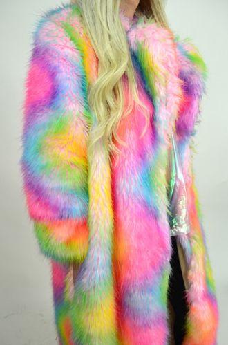 Oversized faux fur rainbow coat. http://www.jackedfashion.com/