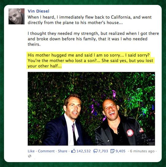 Vin Diesel on Paul Walker's death...