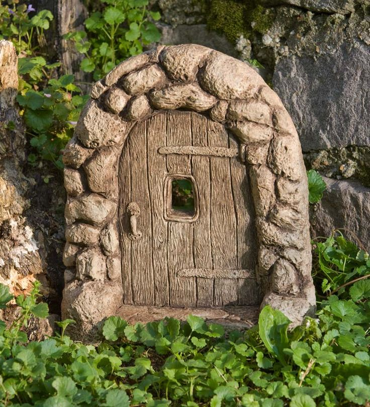 American made cast stone gnome home door position our for Gnome doors for trees