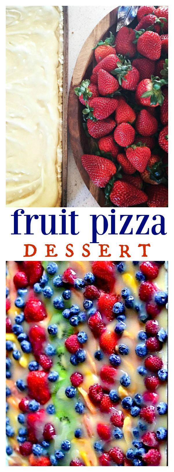Fruit Pizza Dessert for spring and summer entertaining | feeds a large group! ReluctantEntertainer.com