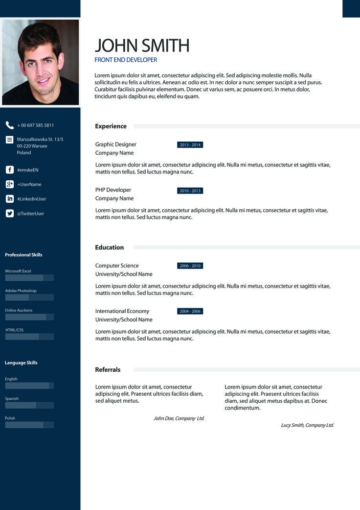 13 best cv examples images on Pinterest Resume design, Design - example of cv