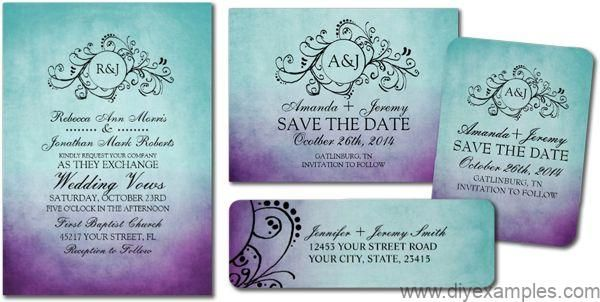Rustic Teal Purple Bohemian Wedding Invitations Purple Wedding