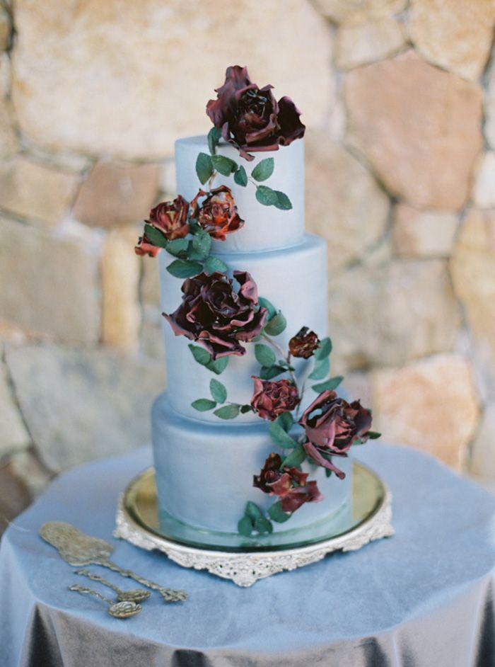 Blue Wedding Cake with Burgundy Sugar Roses