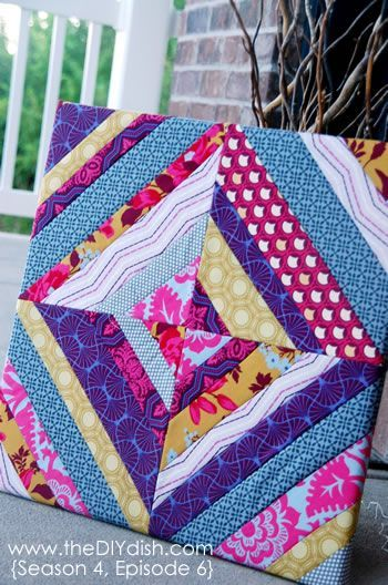 """I love this """"stitch and flip"""" method to include the batting while making this fabric covered canvas!"""