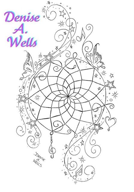 """""""Dream Come True"""" Tattoo Design   A unique dreamcatcher design including musical notes, treble clef charm, stars and stardust, and butterflies. More of my work can be seen if you Google my name and select Images.    I have been designing tattoos for ove For people who love getting inked and want inspiration & tattoo ideas for their future tattoos."""