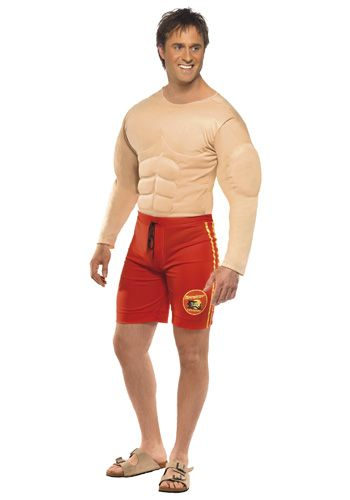 caa3659ea8aa Mens Baywatch Lifeguard Costume Swim Trunks and Muscle Chest JumpsuitGet  the iconic sex appeal of the master himself
