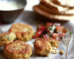 Greek dish: homemade falafel with yogurt sauce served on pita bread