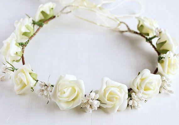 Crema rosa corona ragazza corona di fiori rustico Halo
