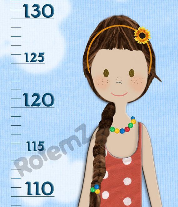 Personalized Girls Canvas Height Chart in Feet & Inches  or Metric by RotemZ, $43.00