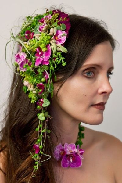 botanical headpiece with phaelonopsis orchids, texture and succulents Françoise Weeks