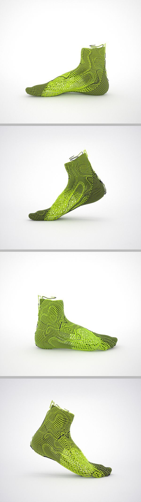 Nike Flyknit Render, green black, fabric, knitted, wrap, support