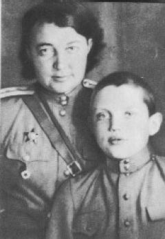 The great Russian poet Robert Rozhdestvensky (1932-1994) and his mother a military doctor