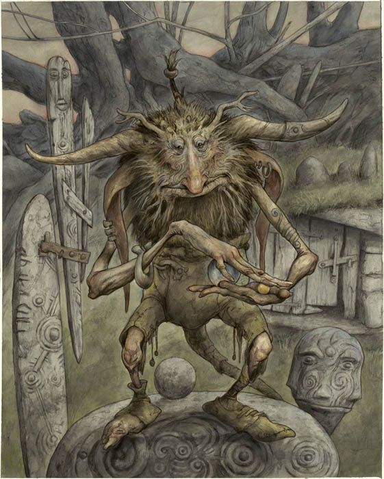 Trolls 6, Acrylic  ink on board, 2011, 25 x 20.25 by Brian Froud: