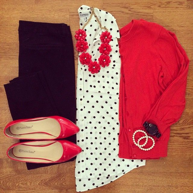 Polka Dot Tank, Red Cardigan, Old Navy Pixie Pants, Red Flats | #workwear #offic…