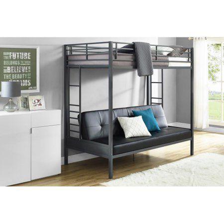 DHP Jasper Premium Twin Over Futon Bunk Bed with Black Faux Leather Futon Mattress, Gunmetal, Silver